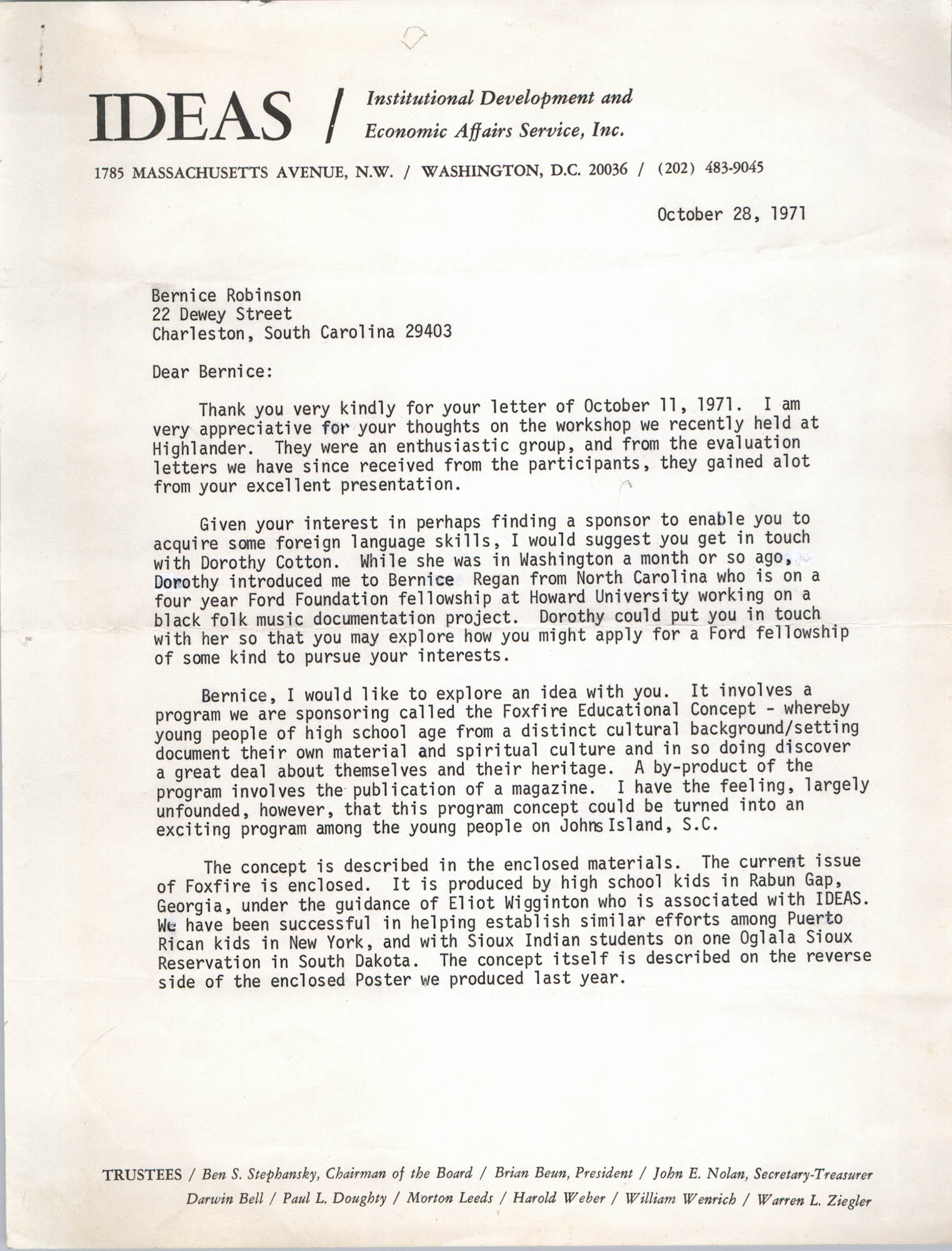 Letter from Brian Beun to Bernice Robinson, October 28, 1971
