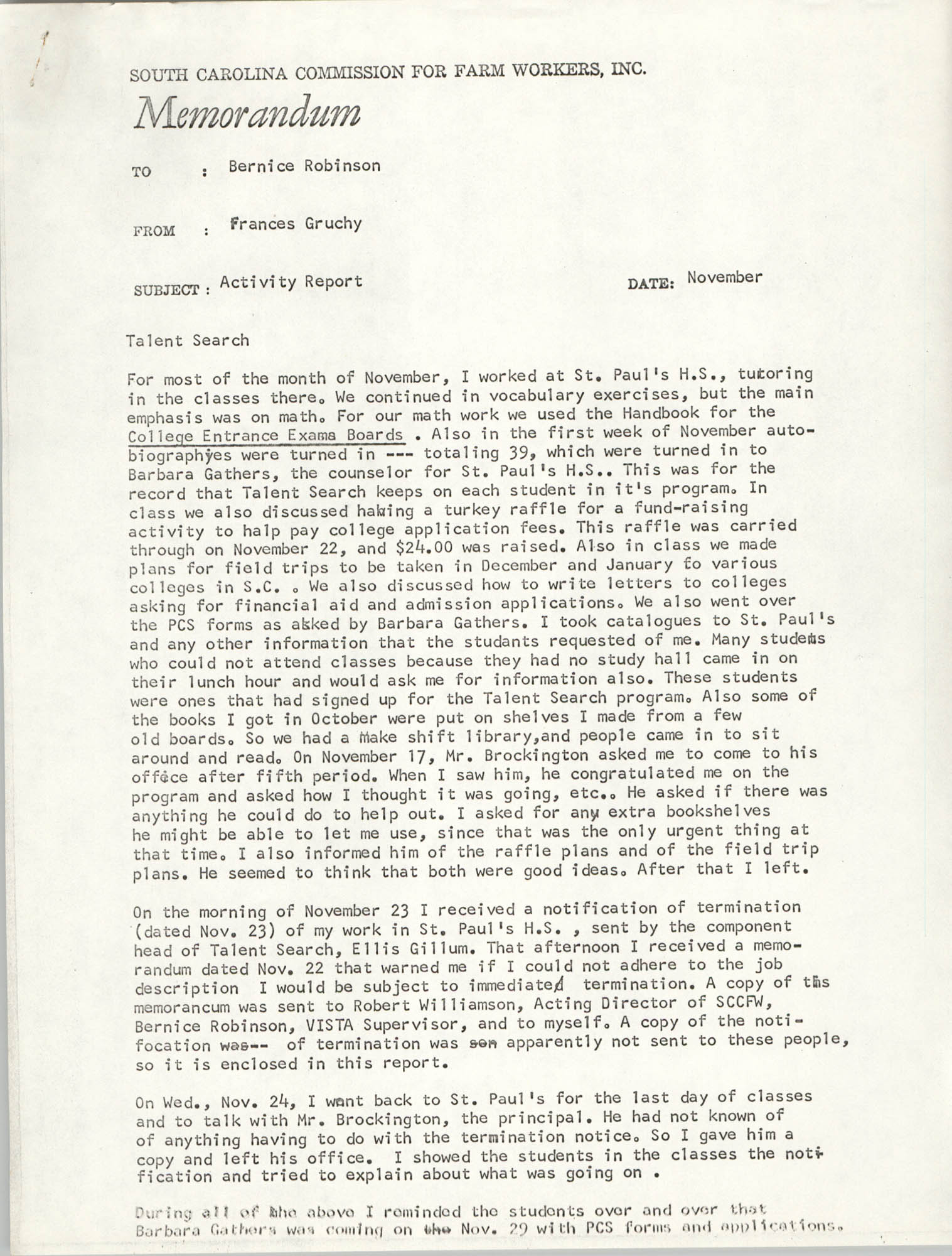 Memorandum from Frances Gruchy to Bernice Robinson, November 1971