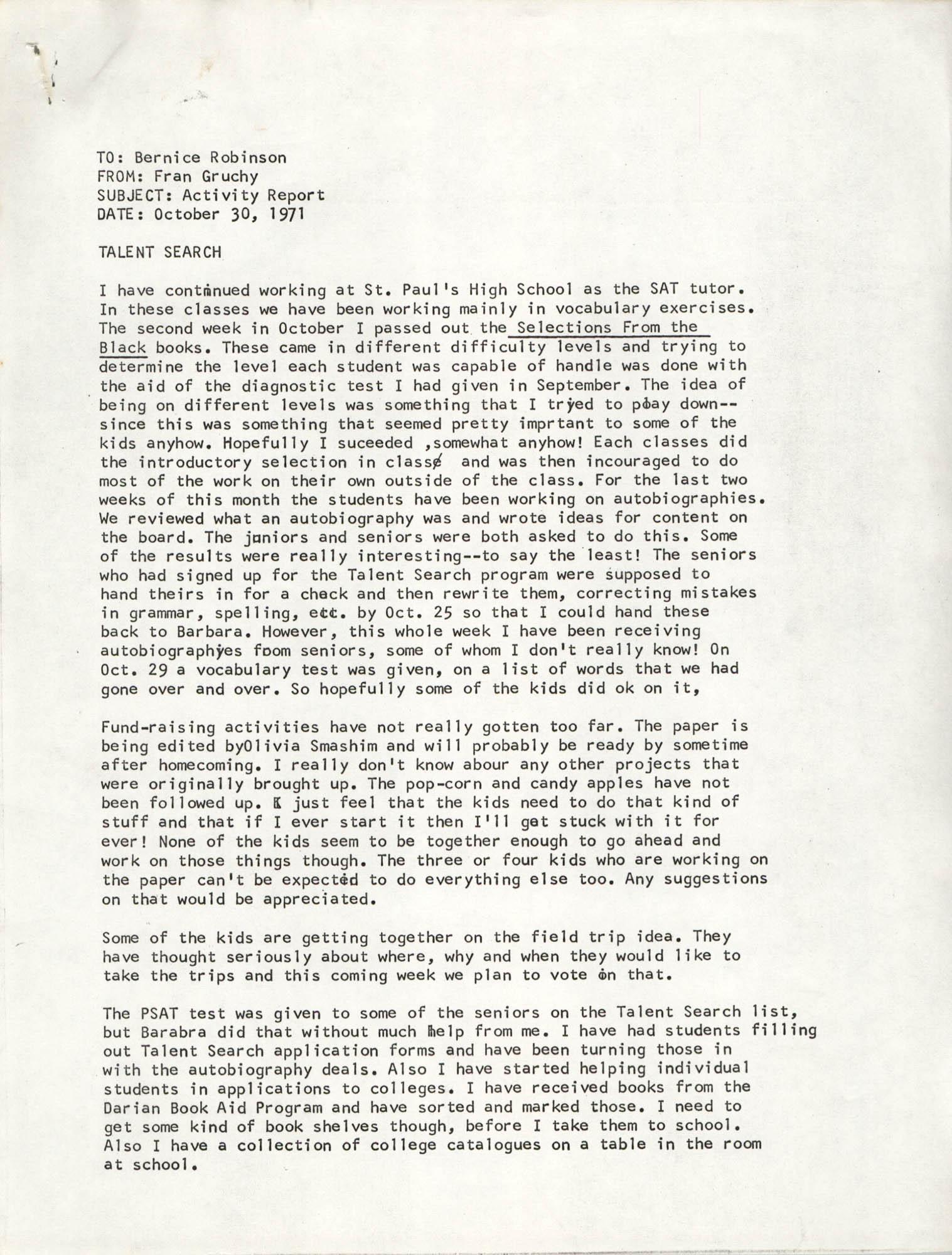 VISTA Progress Report, October 1971