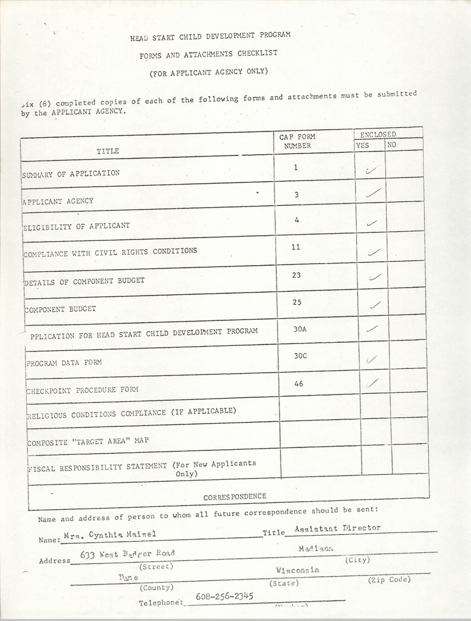 Forms and Attachments Checklist