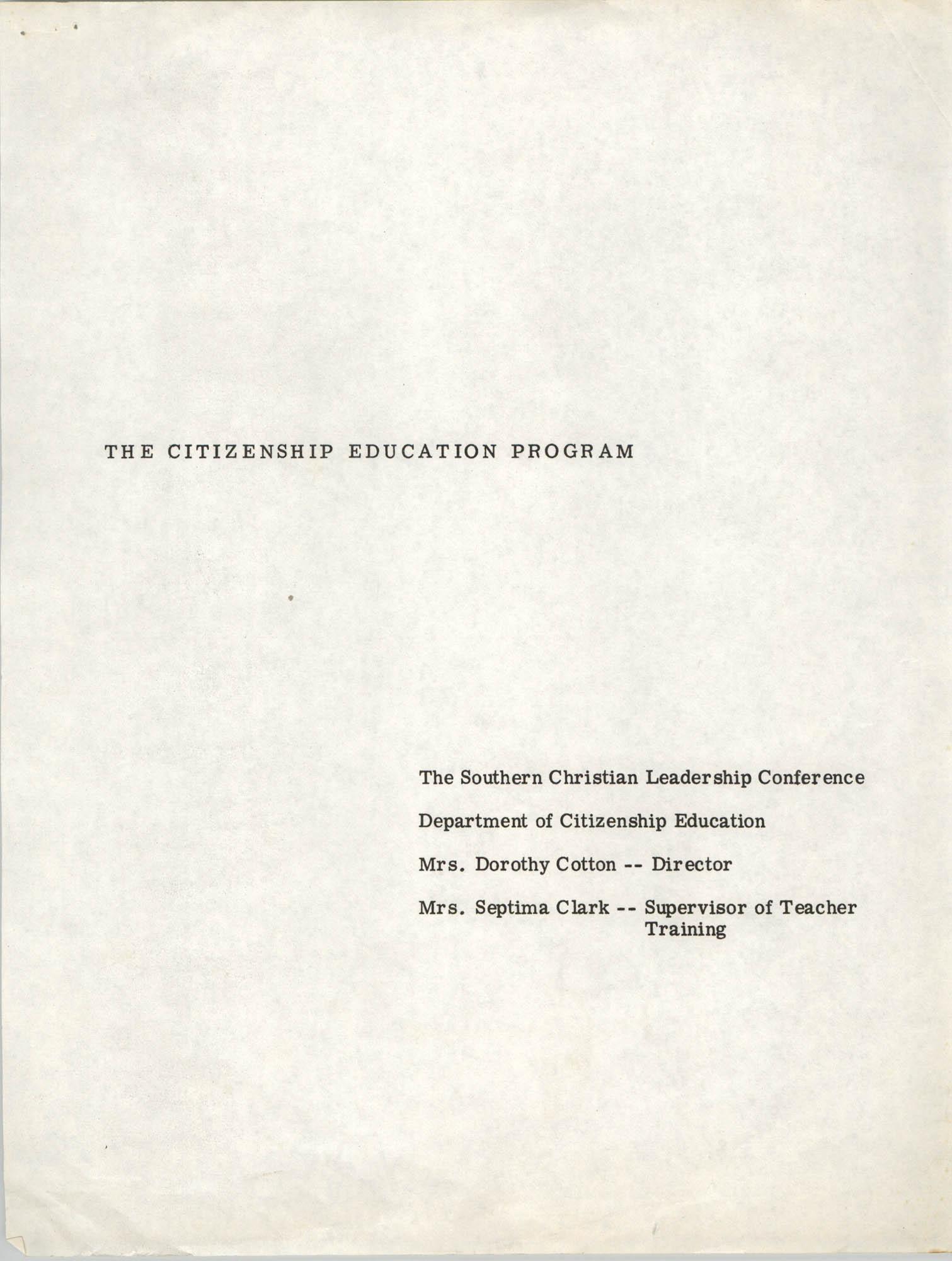 Citizenship Education Program