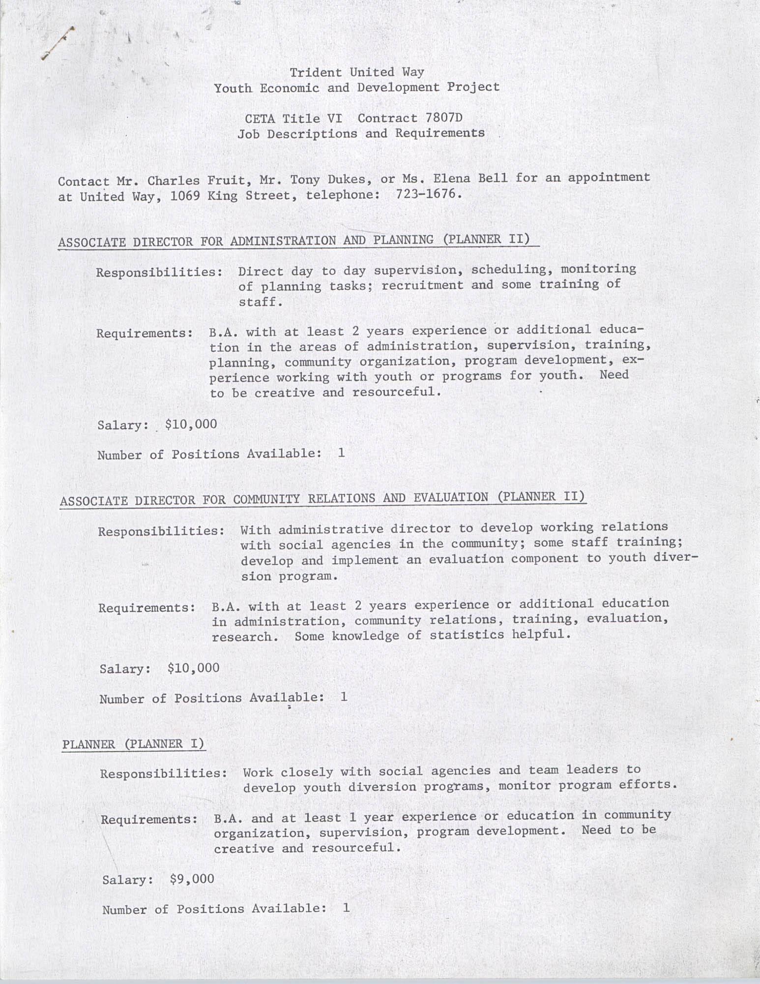 CETA Title IV Job Descriptions and Requirements