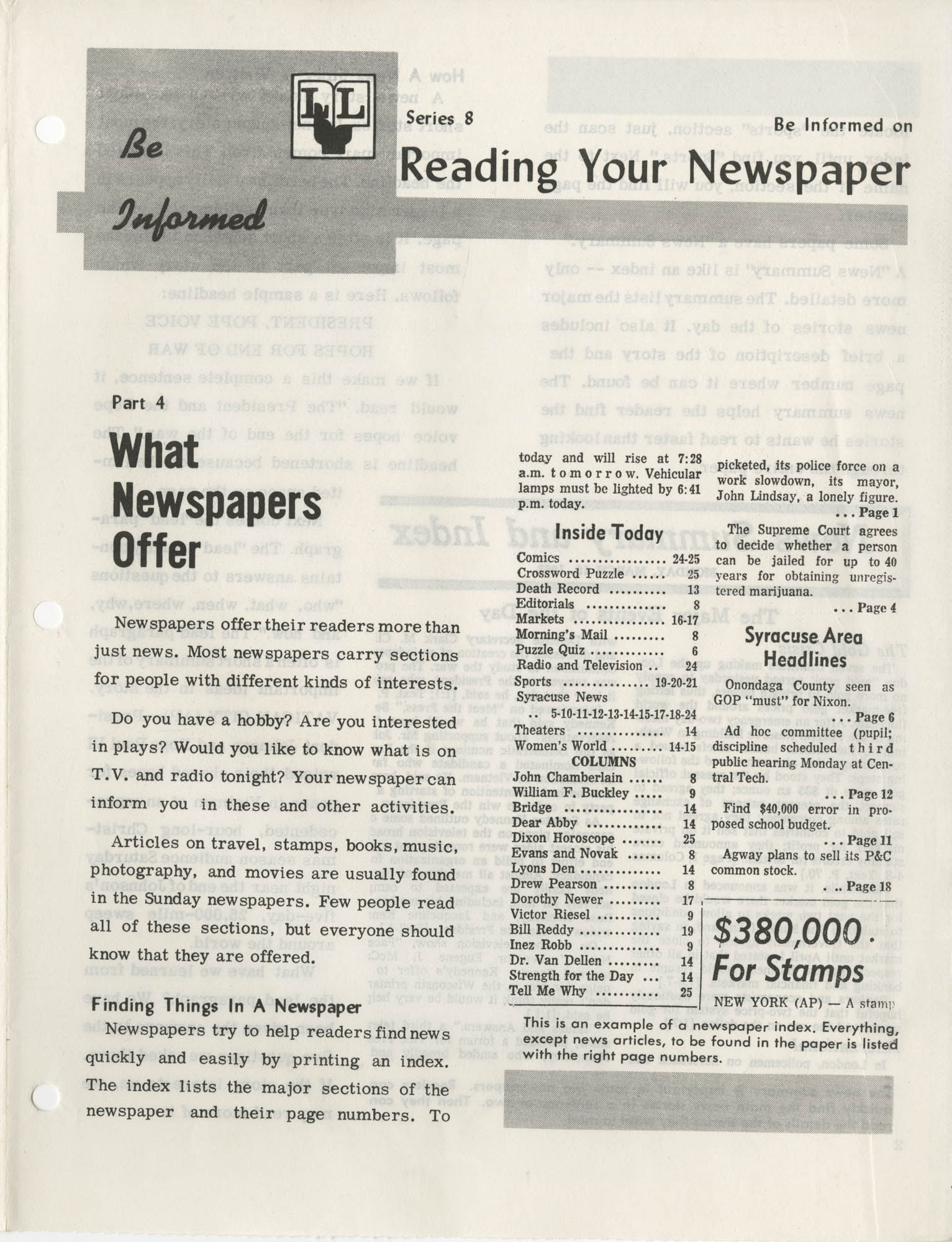 Be Informed, Reading Your Newspaper, Part 4