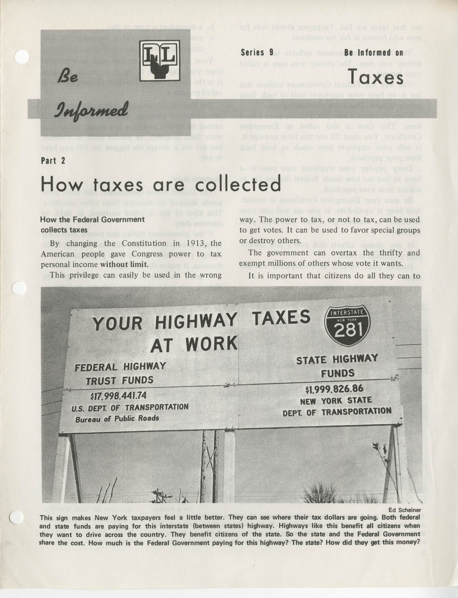 Be Informed, Taxes, Part 2