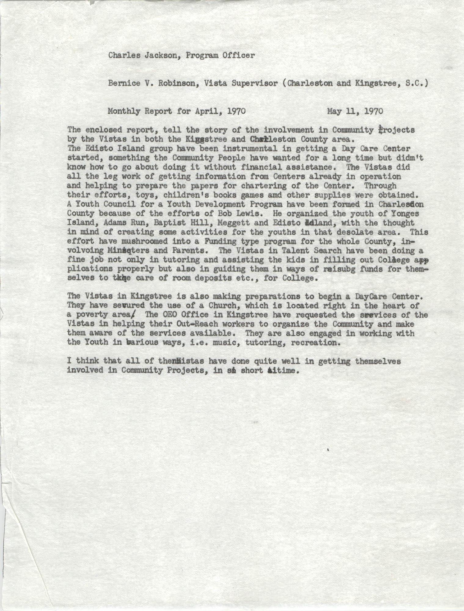 VISTA Memorandum, Monthly Progress Report, April 1970