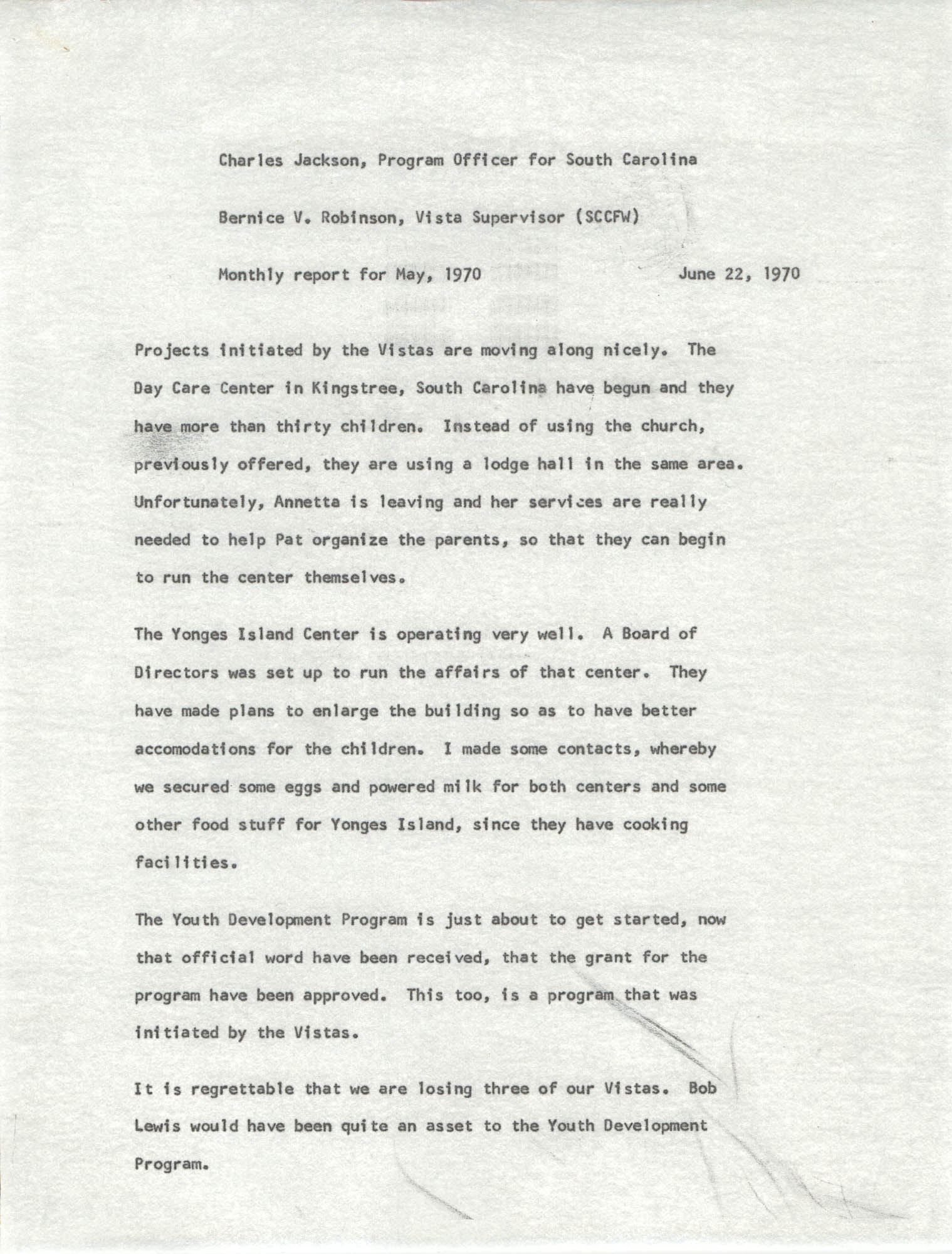 VISTA Memorandum, Monthly Progress Report, May 1970