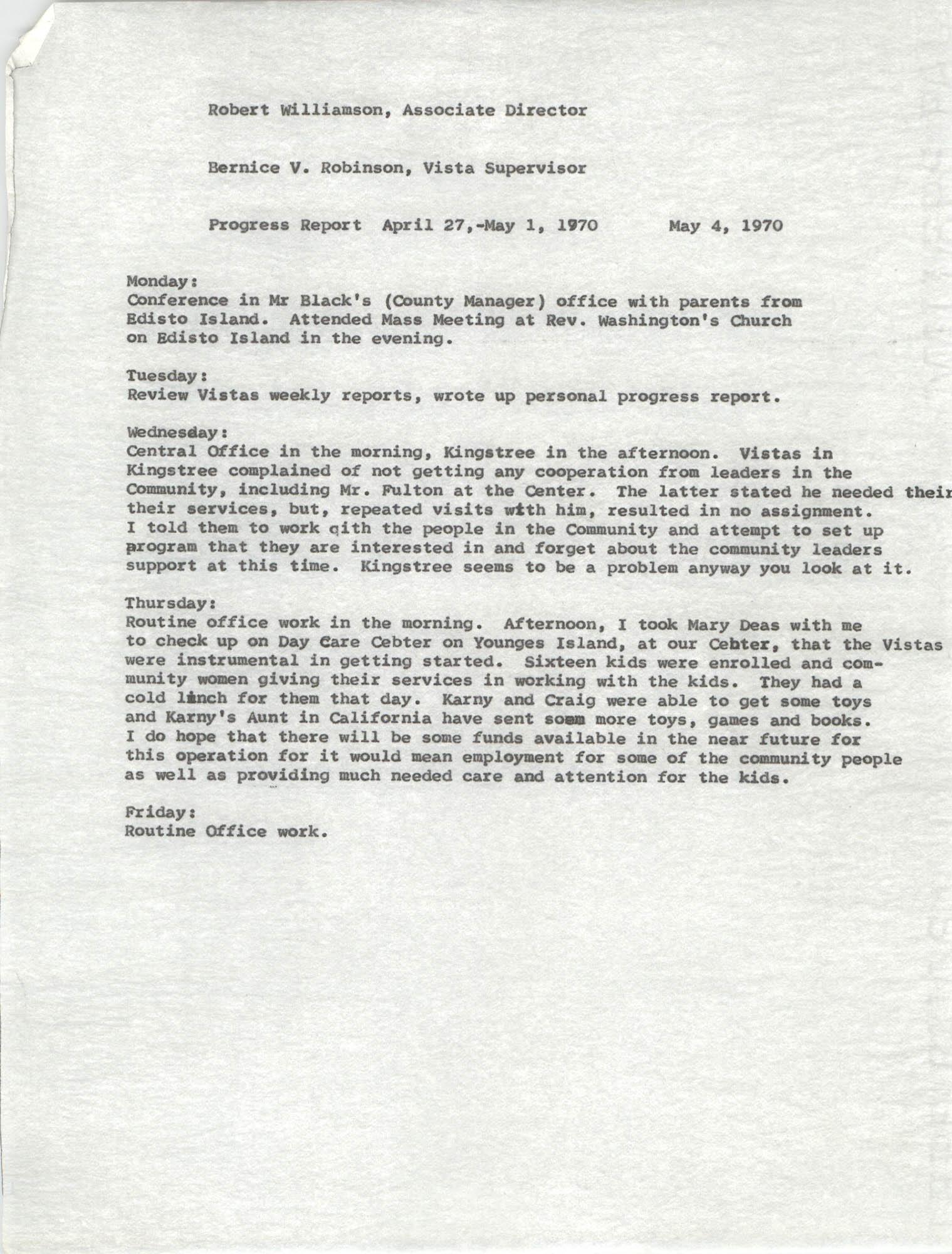 VISTA Progress Report, April 27-May 1, 1970
