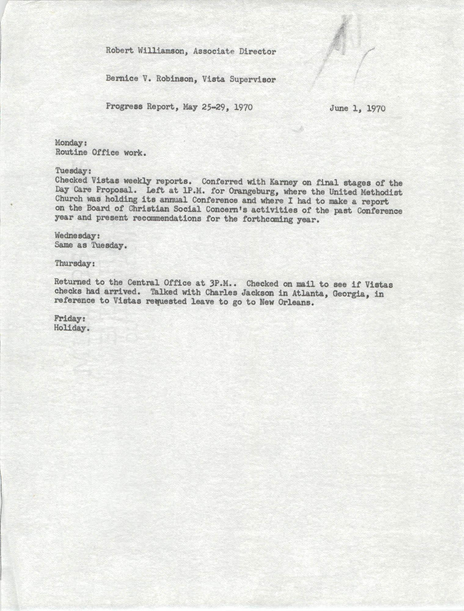 VISTA Progress Report, May 25-29, 1970
