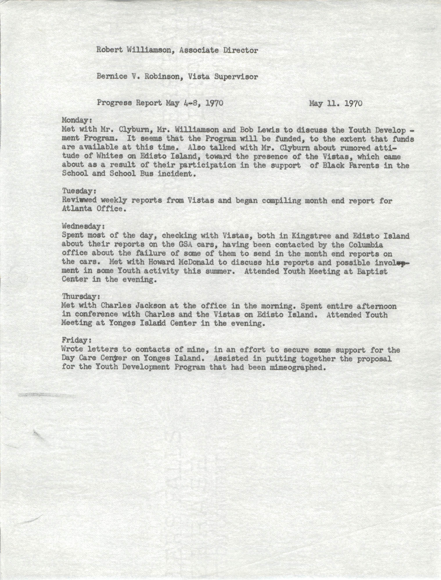 VISTA Progress Report, May 4-8, 1970