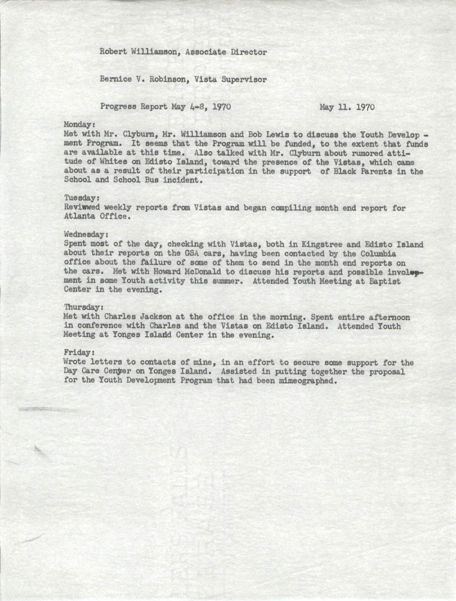 VISTA Progress Report, May 4-8, 1970