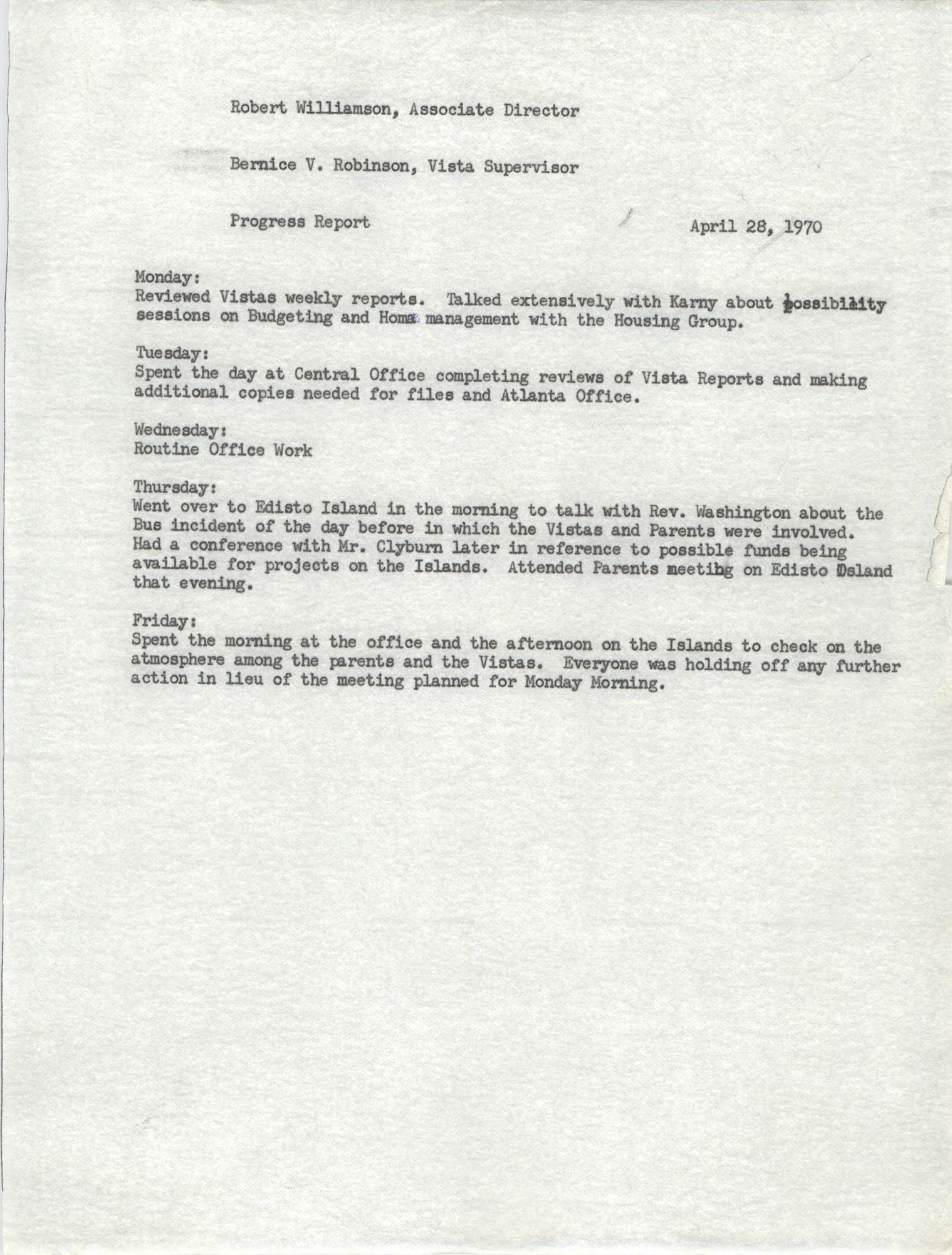 VISTA Progress Report, April 1970