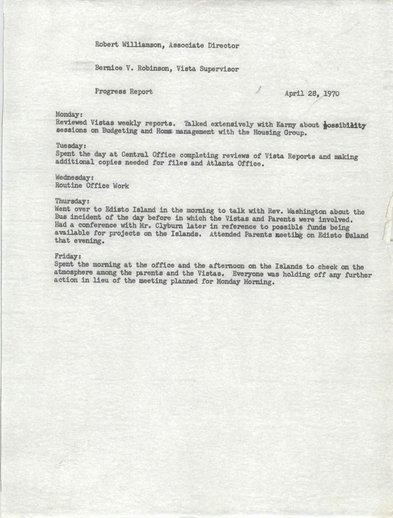 VISTA Progress Report, April 1970