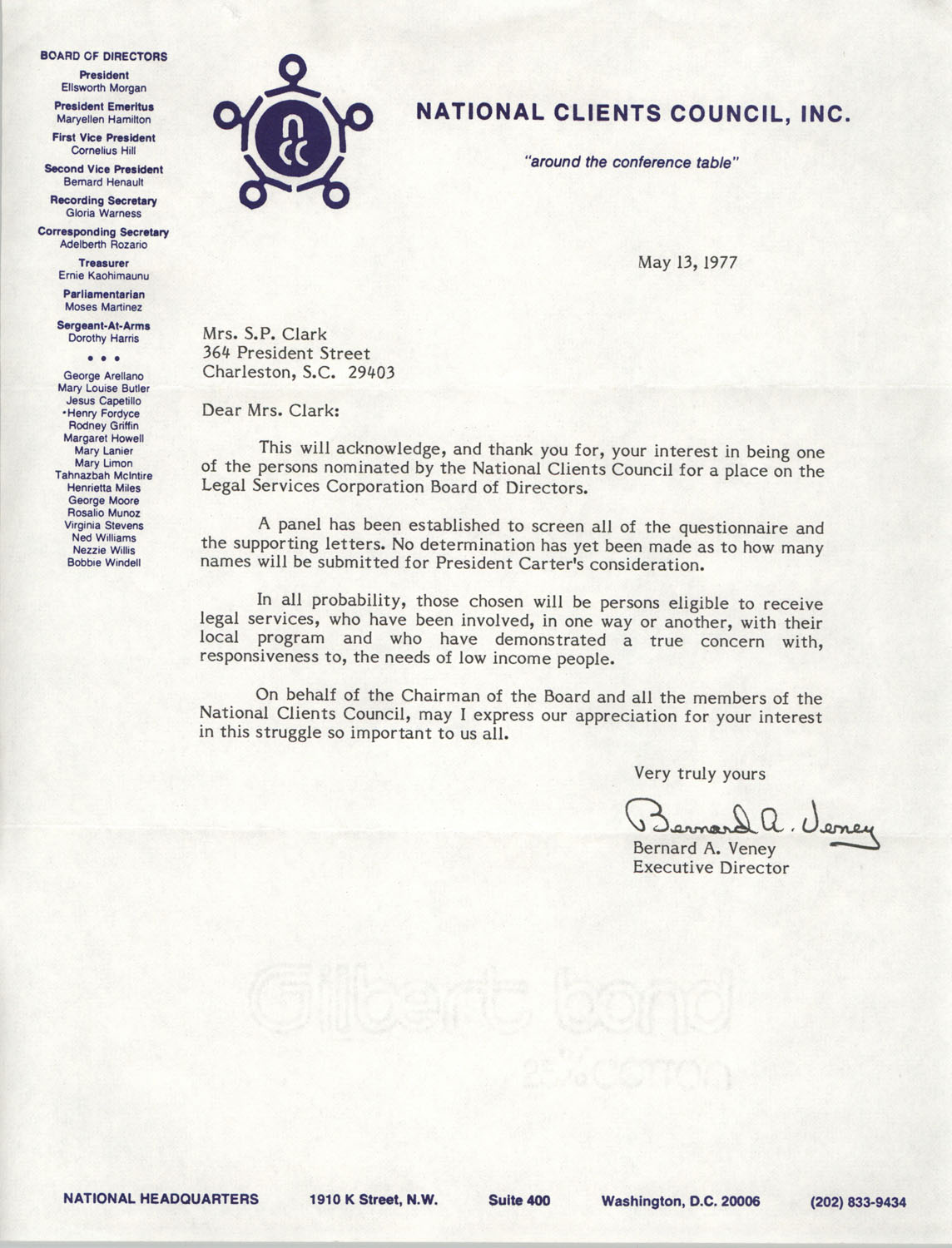 Letter from Bernard A. Veney to Septima P. Clark, May 13, 1977