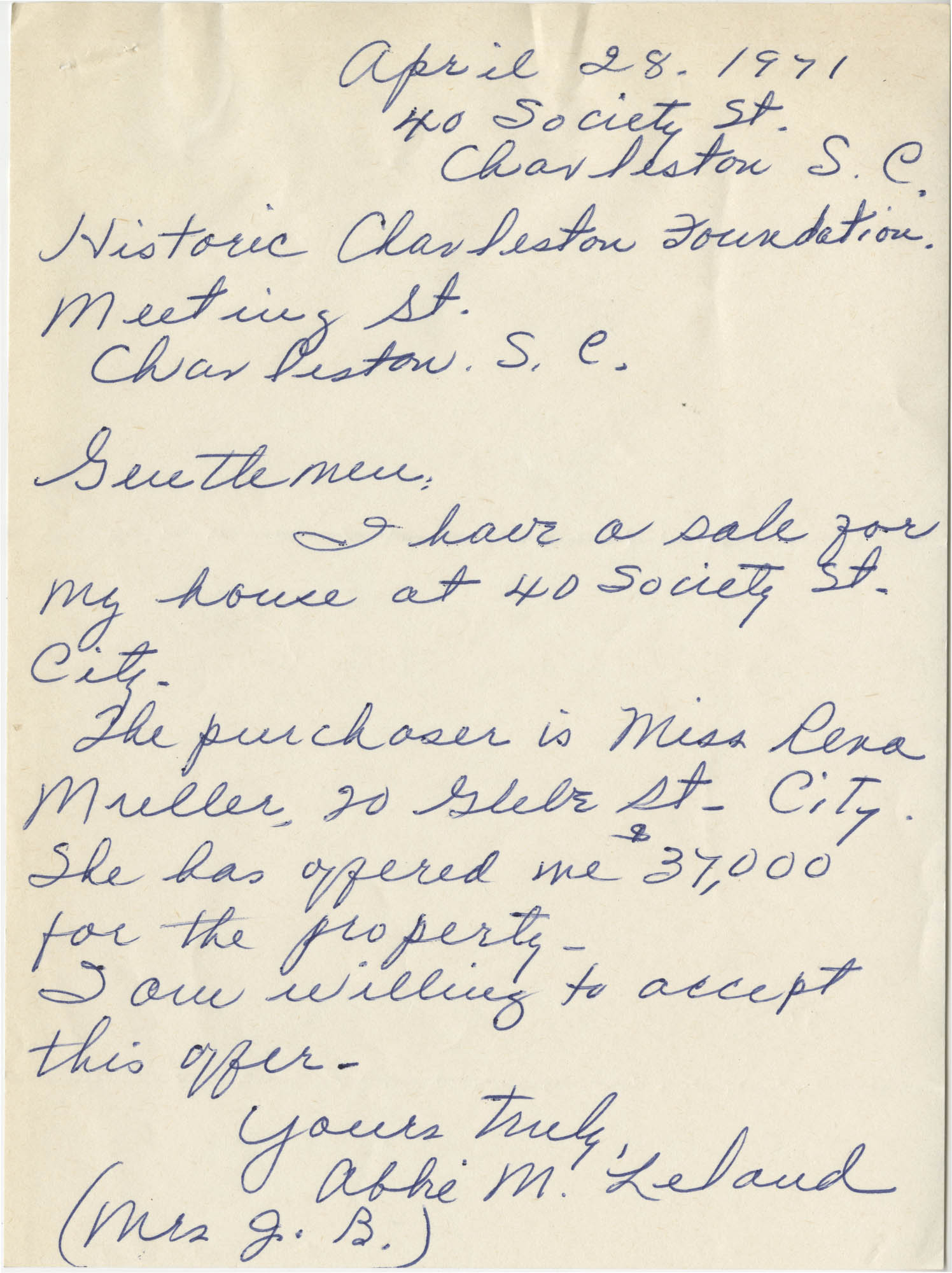 Letter from Abbie M. Leland to Historic Charleston Foundation