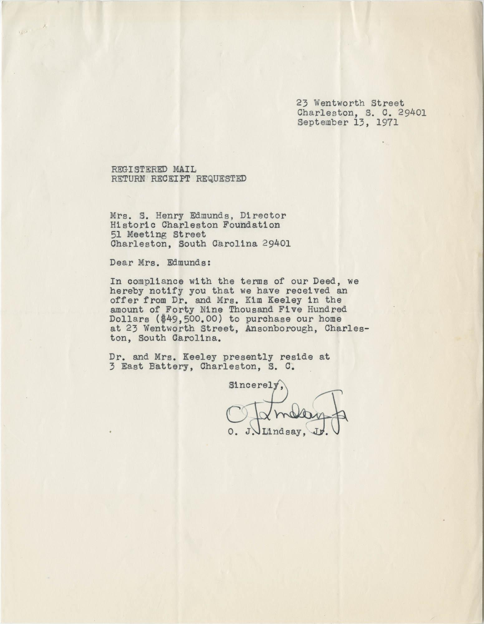 Letter from O. J. Lindsay, Jr. to Mrs. S. Henry Edmunds