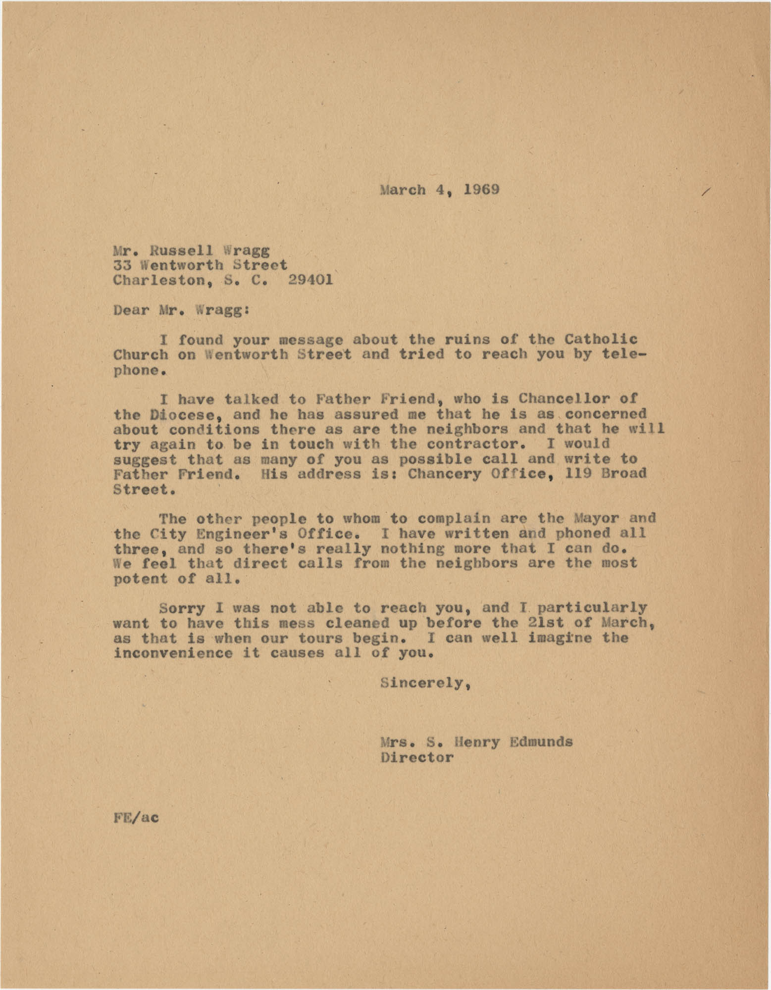 Letter from Mrs. S. Henry Edmunds to Mr. Russell Wragg