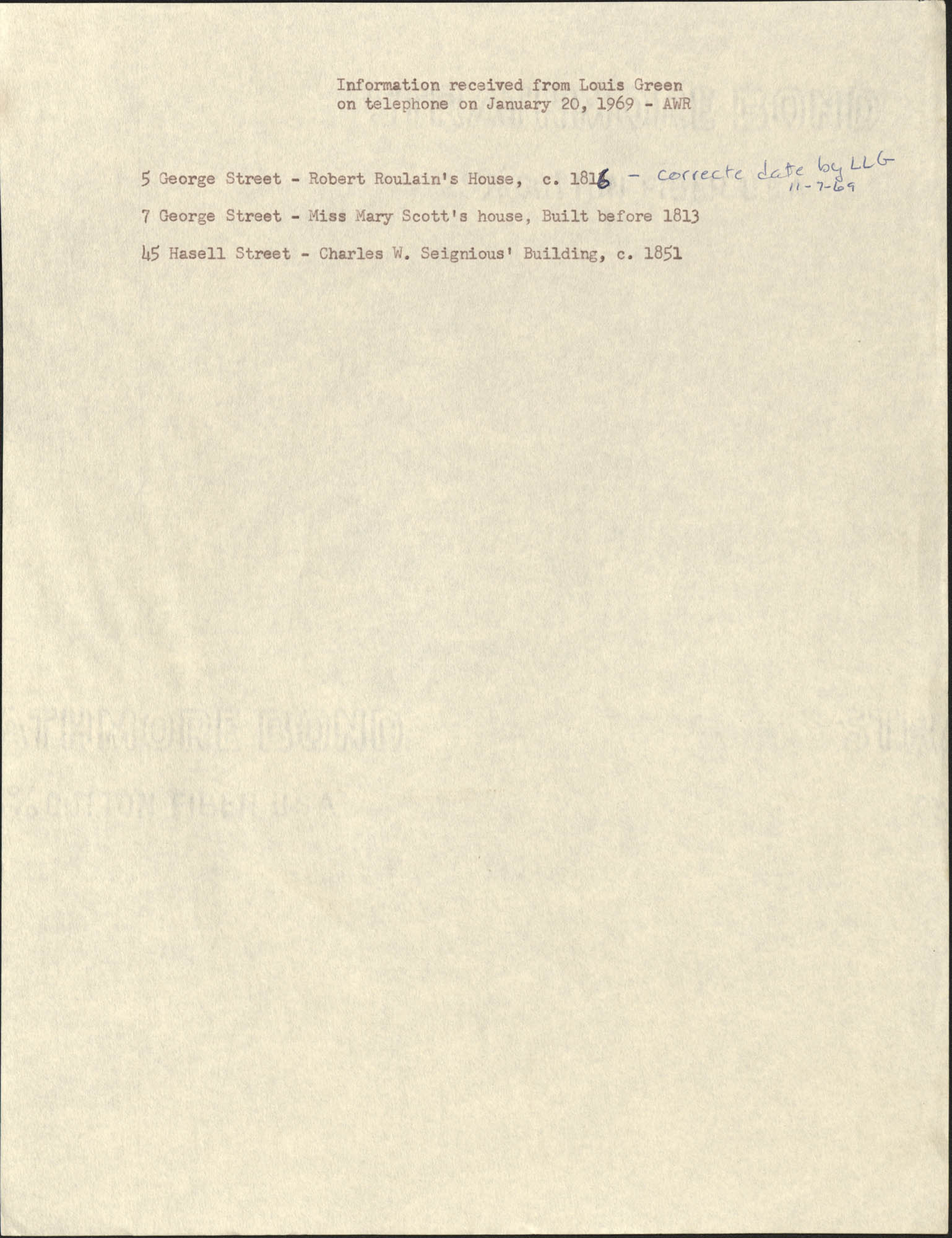 Information received from Louis Green on telephone on January 20, 1969 - AWR