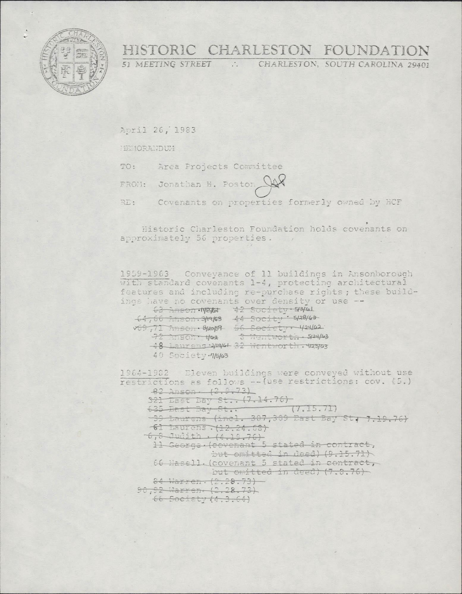 Memorandum to Area Projects Committee from Jonathan H. Poston