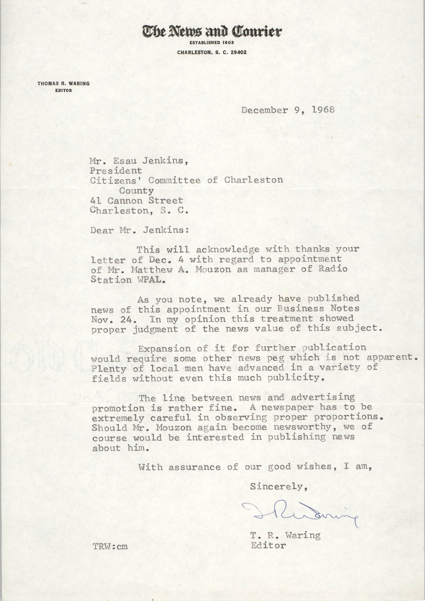 Letter from T. R. Waring to Esau Jenkins, December 9, 1968