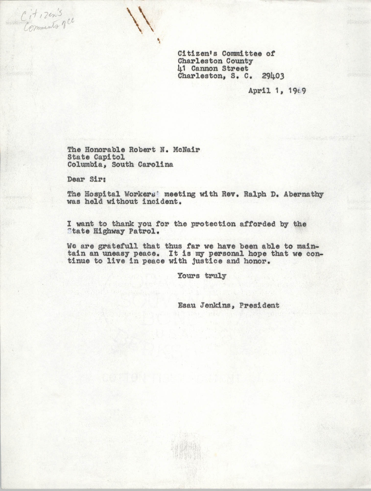 Letter from Esau Jenkins to Robert N. McNair, April 1, 1969