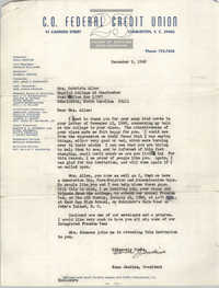 Letter from Esau Jenkins to Patricia Allen, December 9, 1968