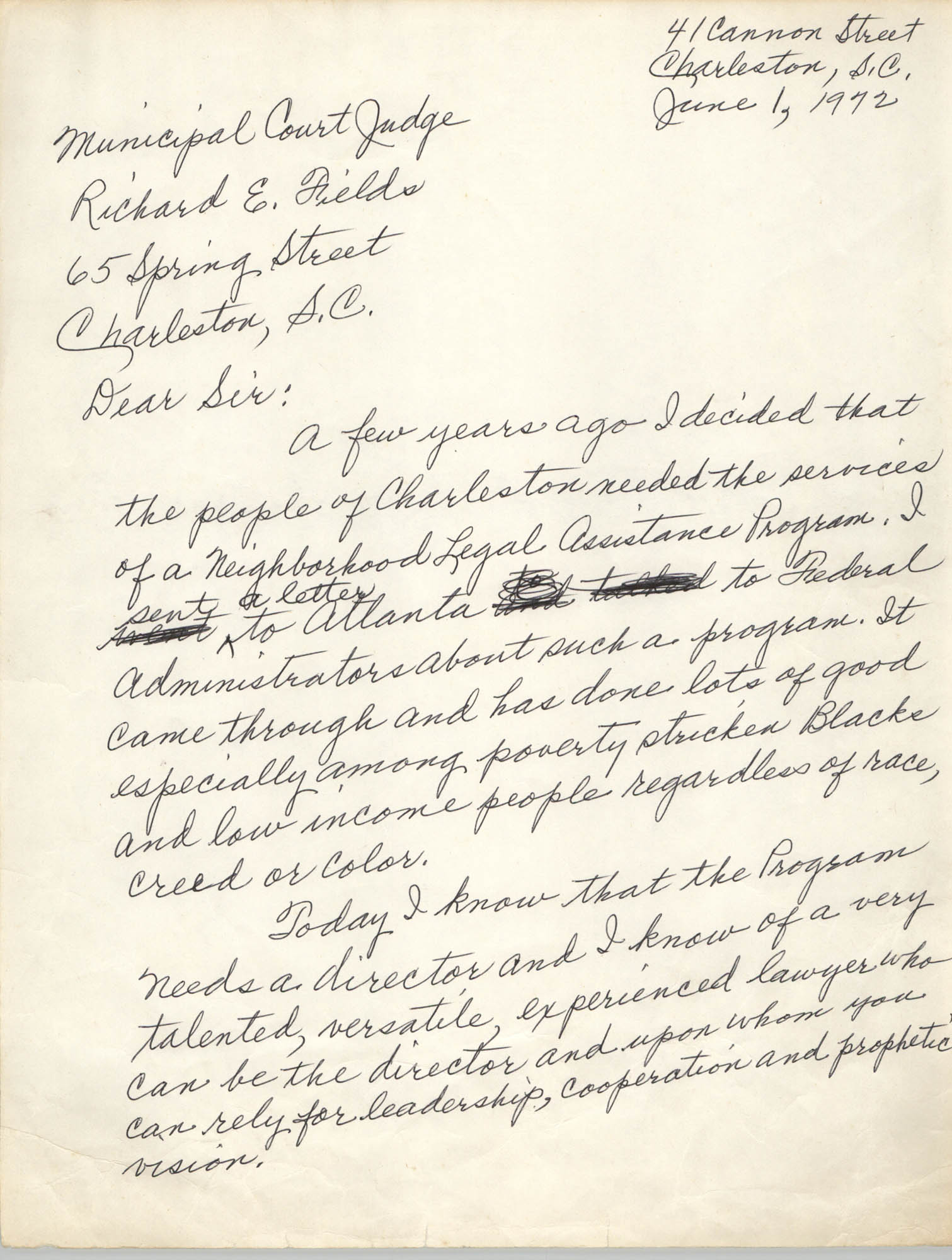 Letter Septima Clark and Esau Jenkins to Richard E. Fields, June 1, 1972