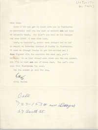 Correspondence Between Kitty Terjen and Esau Jenkins, June 1971