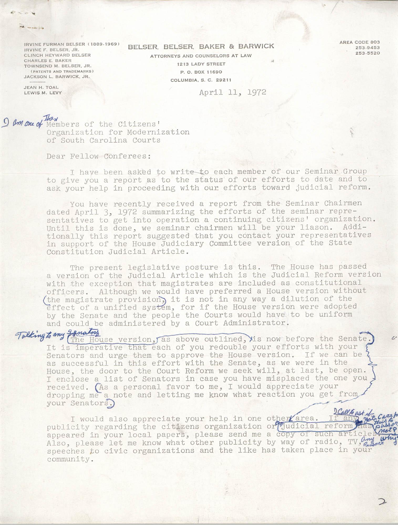 Letter from Jean Hoefer Toal, April 11, 1972
