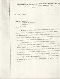 Highlander Research and Education Center Memorandum, November 17, 1972