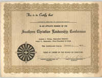 Citizen's Committee of Charleston County, Southern Christian Leadership Conference Certificate