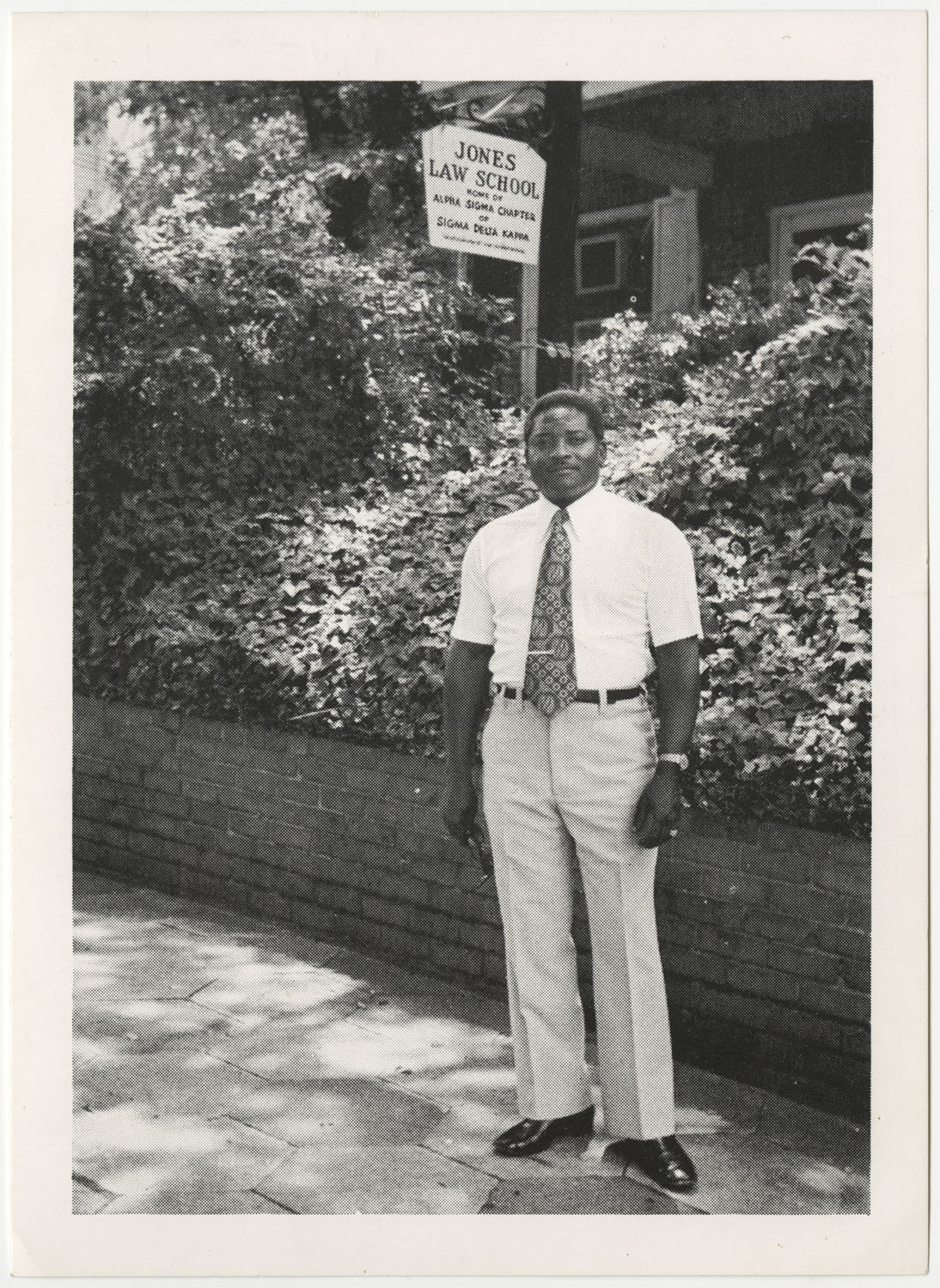Young Man Standing Outside of Jones Law School