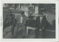 Three Men Sitting on Bench, December 1961