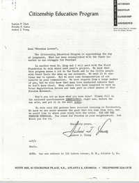 Letter from Andrew Young to