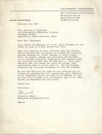 Letter from Robert A. Wuerl to Bernice V. Robinson, February 23, 1967