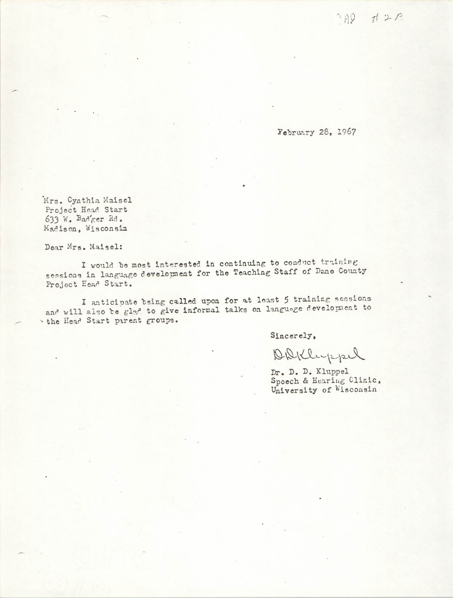 Letter from D. D. Kluppel to Cynthia Maisel, February 28, 1967