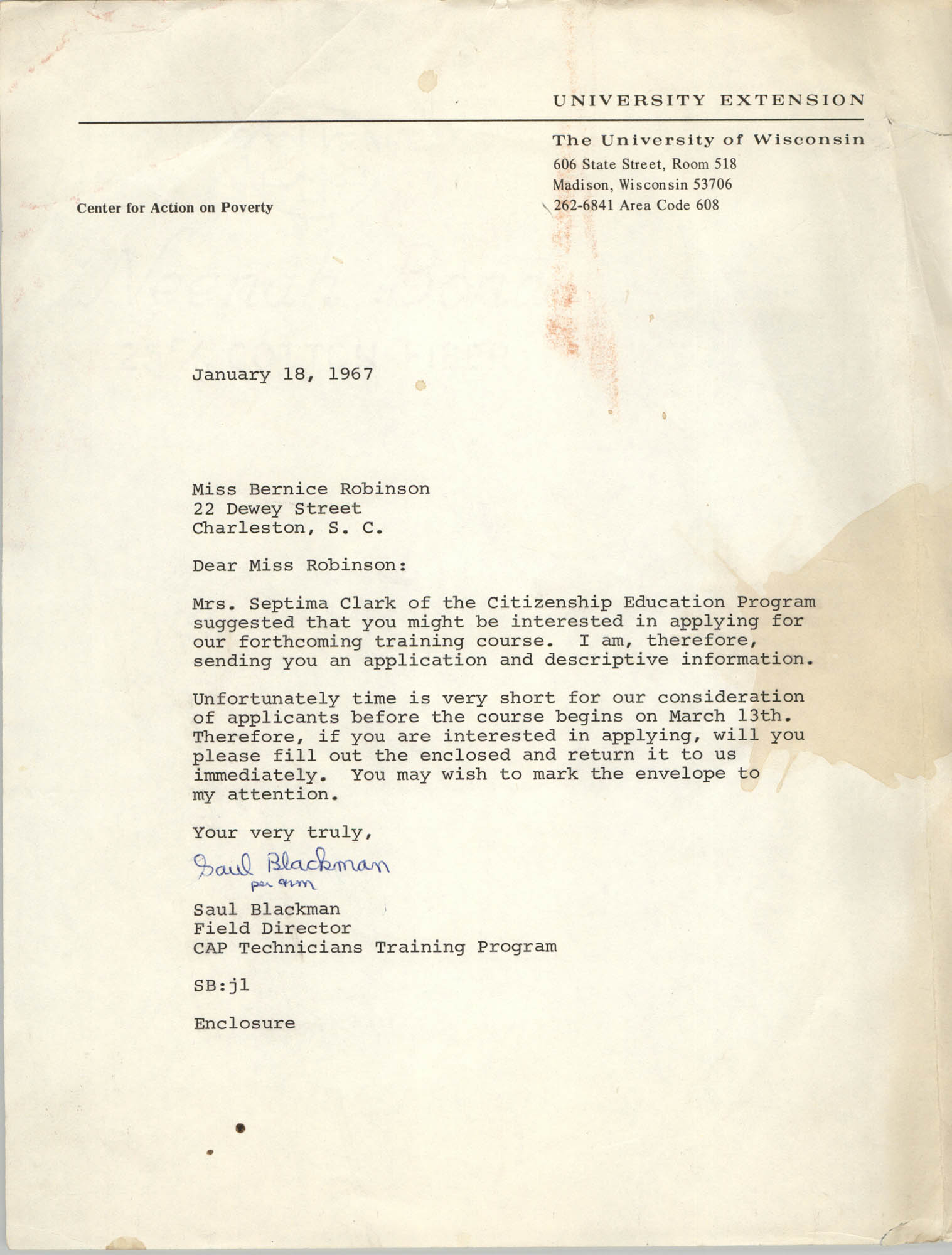 Letter from Saul Blackman to Bernice Robinson, January 18, 1967