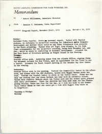 Memorandum from Bernice V. Robinson to Robert Williamson, November 30, 1970