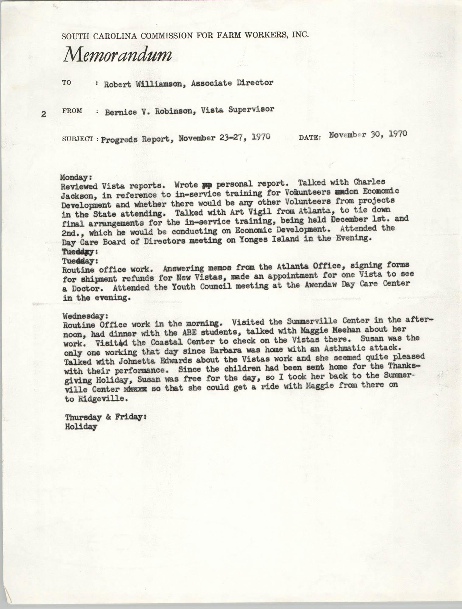 Memorandum from Bernice V. Robinson to Robert Williamson, November 30, 1970