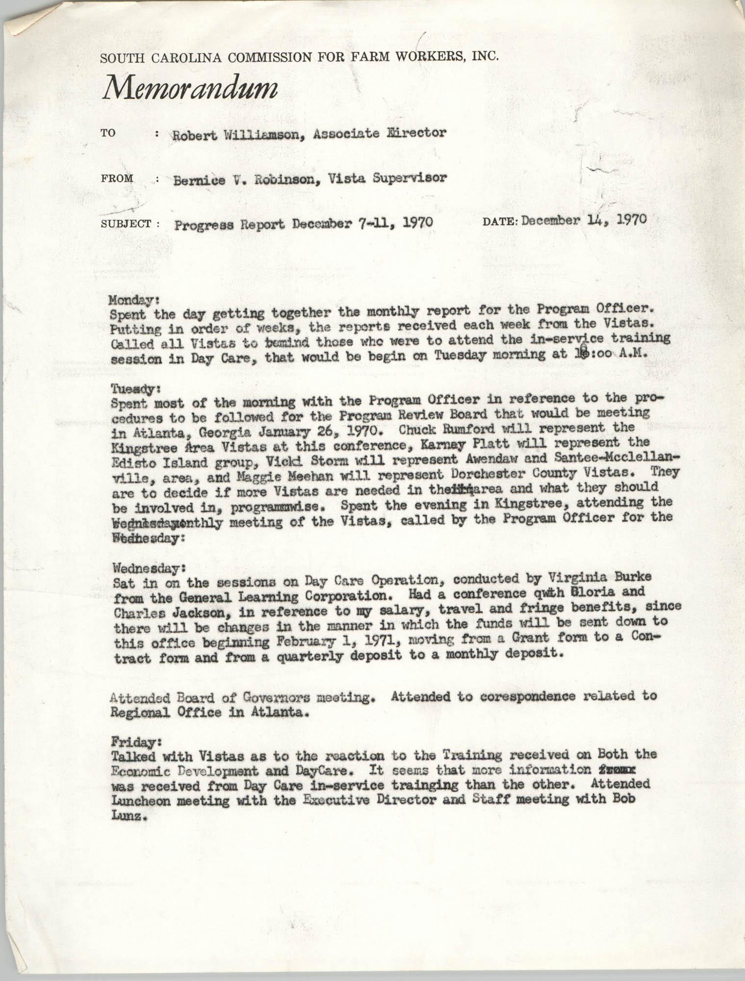 Memorandum from Bernice V. Robinson to Robert Williamson, December 14, 1970