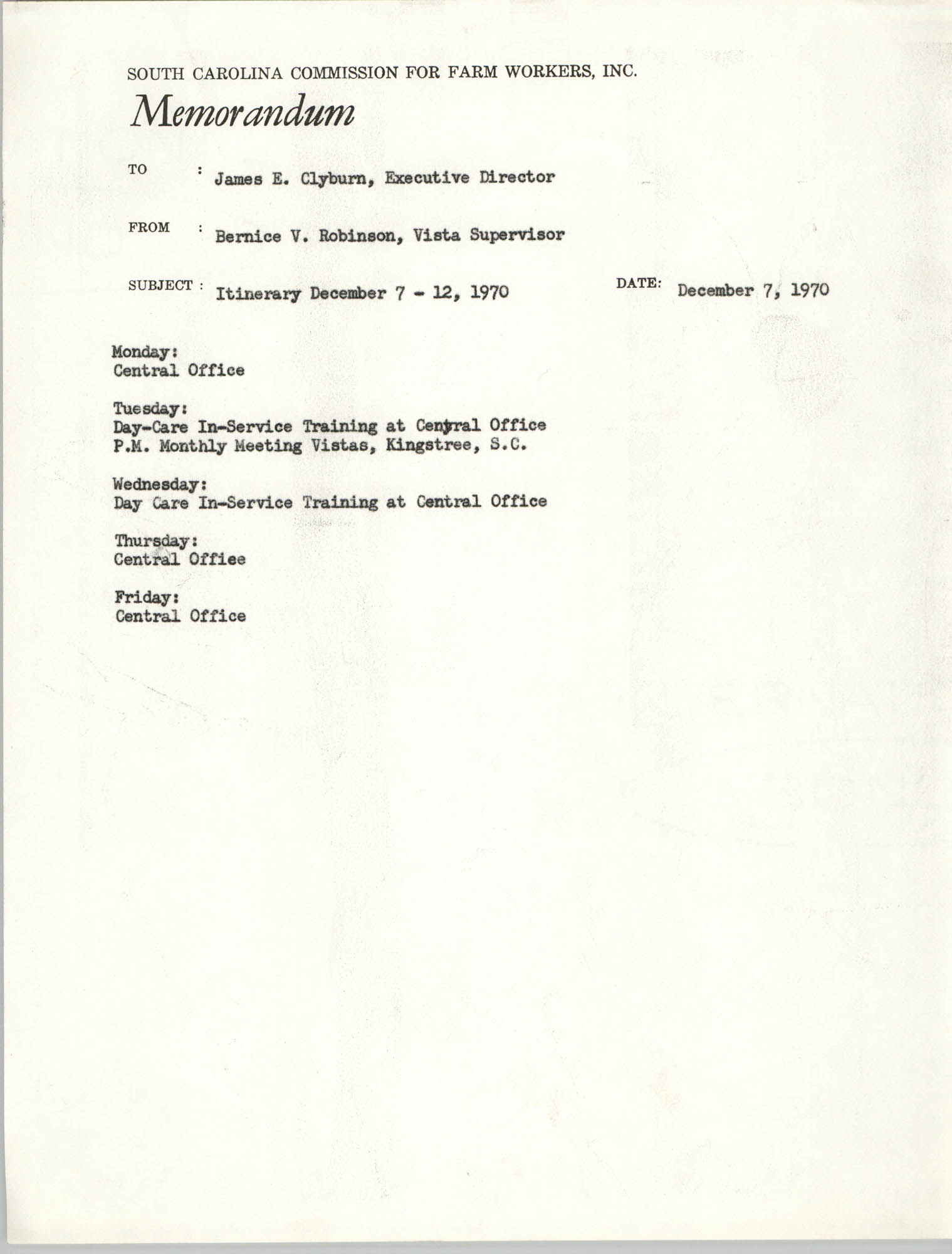 Memorandum from Bernice V. Robinson to James E. Clyburn, December 7, 1970