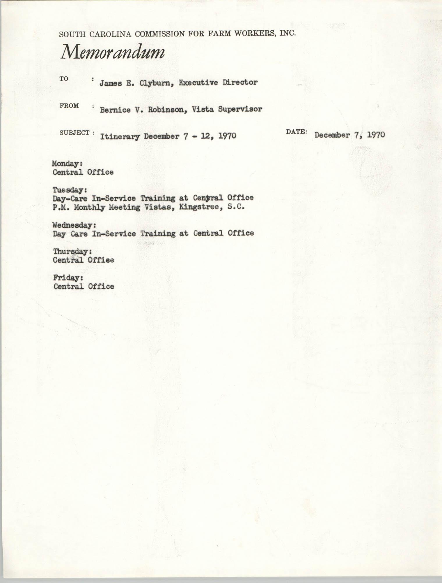 Memorandum from Bernice V. Robinson to James E. Clyburn, December 7, 1970