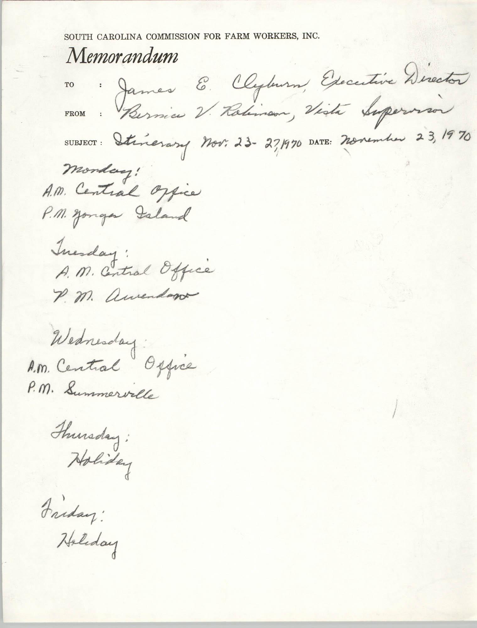 Memorandum from Bernice V. Robinson to James E. Clyburn, November 23, 1970