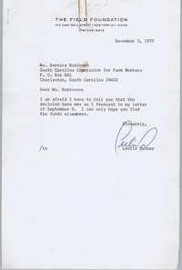 Letter from Leslie Dunbar to Bernice Robinson, December 2, 1970