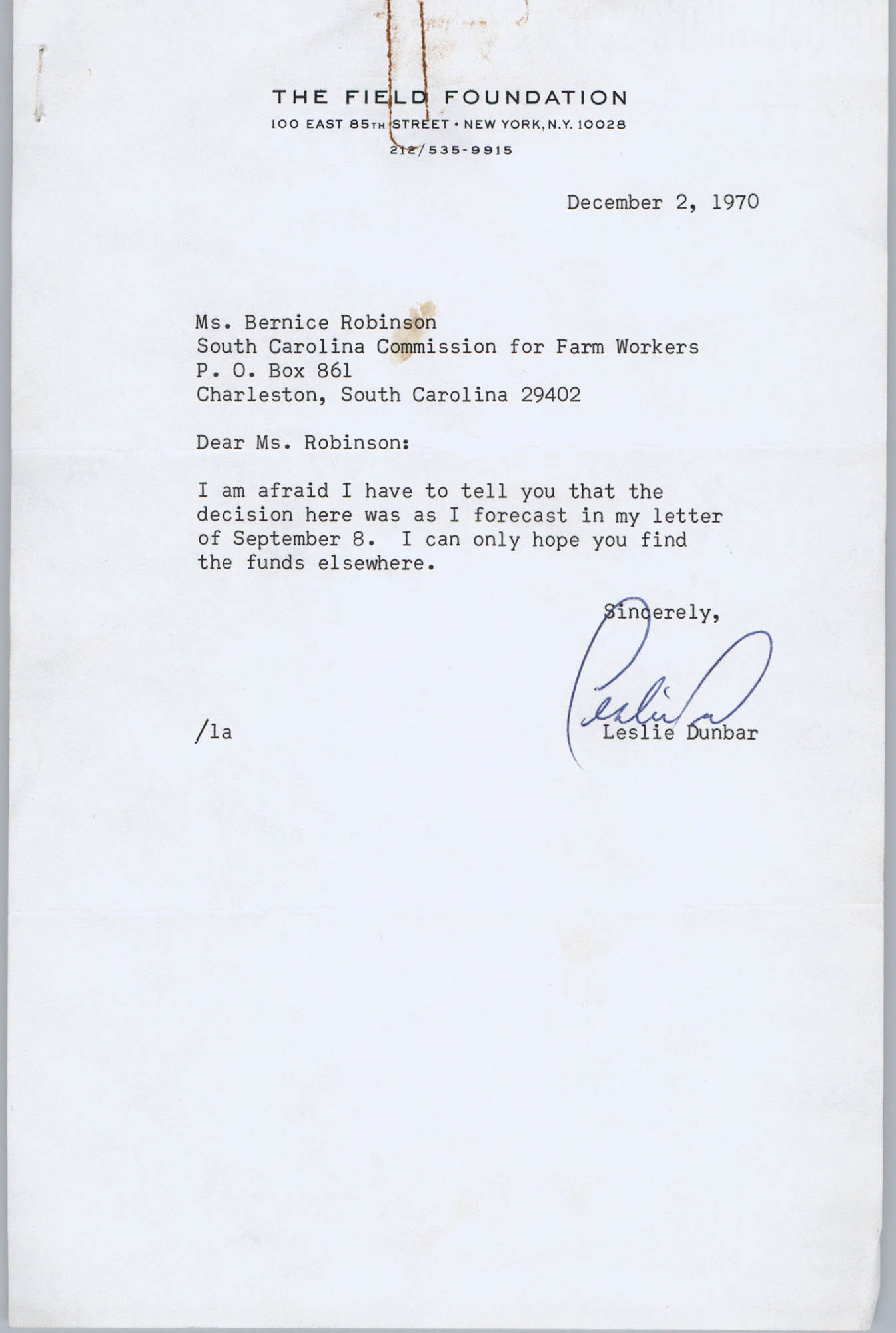 Letter from Leslie Dunbar to Bernice Robinson, December 2, 1970