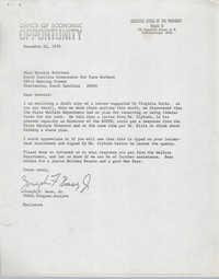Letter from Joseph F. Bass, Jr. to Bernice Robinson, December 22, 1970