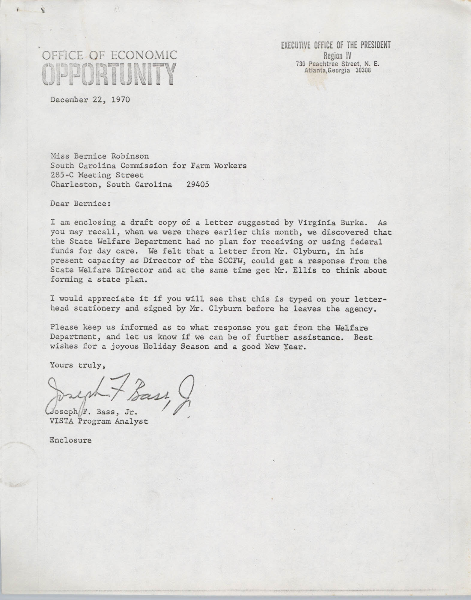 Letter from Joseph F. Bass, Jr. to Bernice Robinson, December 22, 1970