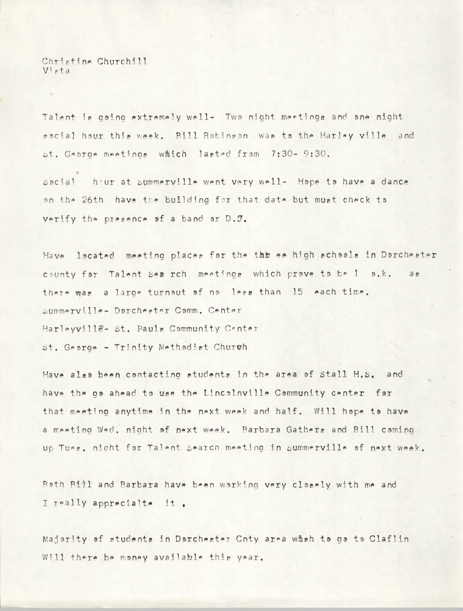 VISTA Monthly Report, 1971