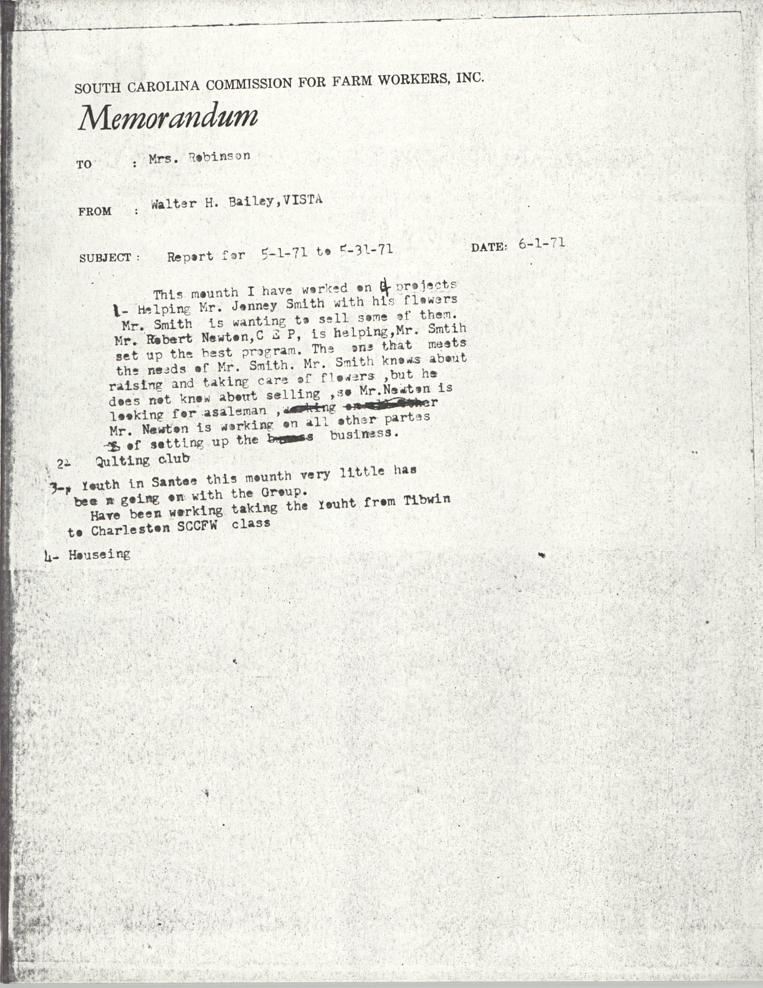 Memorandum from Walter H. Bailey to Bernice Robinson, May 1971