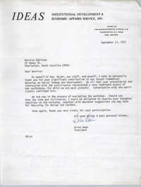 Letter from Brian Beun to Bernice Robinson, September 21, 1971