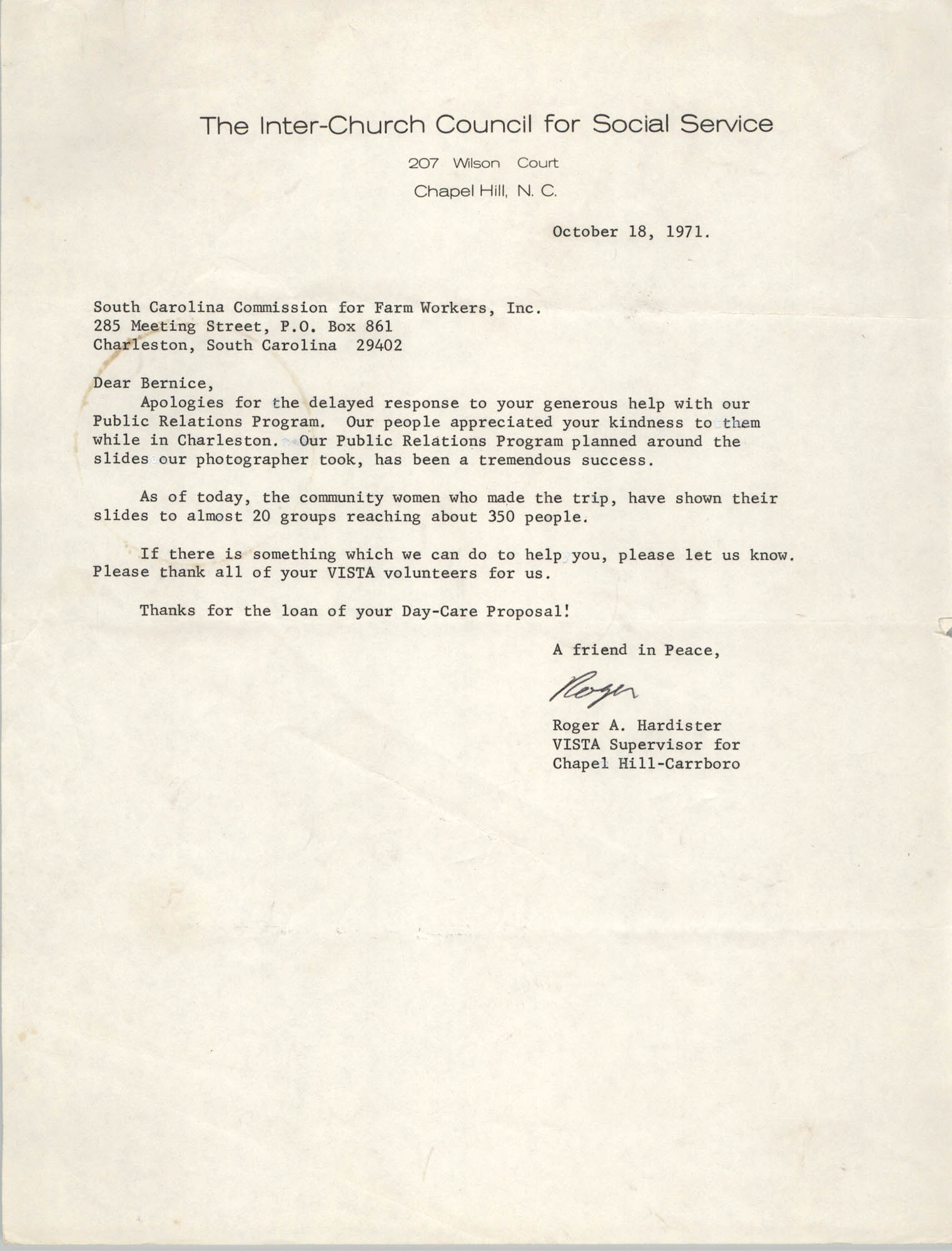 Letter from Roger A. Hardister to Bernice Robinson, October 18, 1971